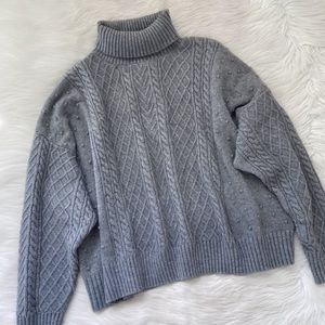 Eloquii Gray Cable Knit Turtleneck Crop Sweater